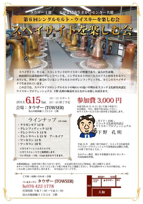 6/15(土)開催 タウザー主催 スペイサイドを楽しむ会