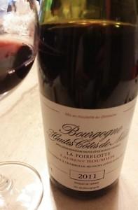 ローラン・ルーミエ ブルゴーニュ オート・コート・ド・ニュイ 2011 グラスを変えて…